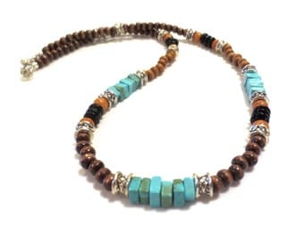 Wooden Bead Necklace, Men's Turquoise Necklace, Silver Men's Necklace, Citrine and Jet Black, Boyfriend Gift, Men's Choker, Rustic Necklace