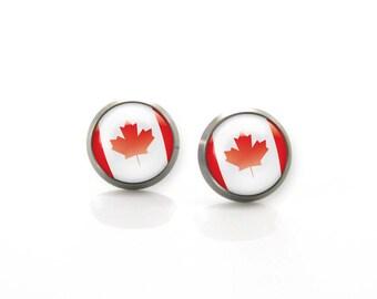 Titanium Earrings Canada leaf flag | Hypoallergenic Earring Stud | Titanium Stud | Titanium earrings for sensitive ears