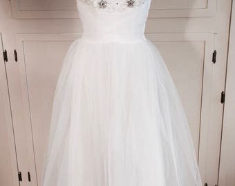 A Vision in White 1950s Prom Dress Flower Beaded Bodice