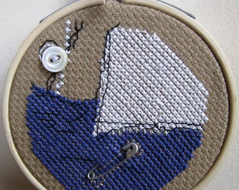 Hillary Clinton Miniature Counted Cross Stitch Embroidery Safety Pin Mixed Media Collage Hoop - 3 Inches