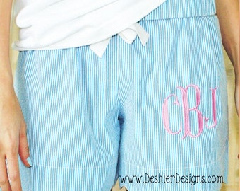 Scallop Shorts, Monogram Scallop Shorts,  scalloped shorts, Pajama shorts, seersucker scallop shorts, group order monogram shorts
