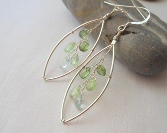 Leaf Earrings in Green Apatite, Prehenite and Aquamarine Wire Wrapped Sterling Silver Earrings