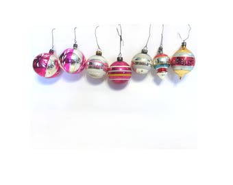 Vintage Retro Holiday Christmas Ornaments, Glass Ornaments,  Assortment of 7, Instant Collection, Striped Ornaments, Holiday Tree Ornaments