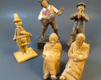 "Vintage Carved Wood Figurines Group ""Chippy"" As Is Primitive Wood Folk Art Rustic Musicians Rocker Figures  5 Piece Lot"