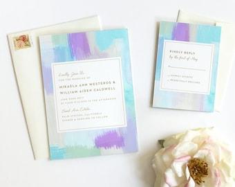 Beach Wedding Invitation, Watercolor Wedding Invitation,  Modern Wedding Invitation, Wedding Invitation Suite, Blue