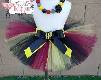 HARRY POTTER inspired- Black, Maroon, and Yellow infant/child Tutu with hairbow:  Newborn-5T