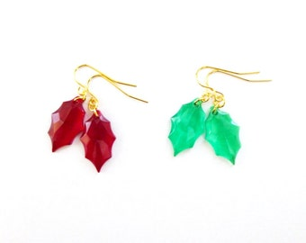 Christmas Earrings Holiday Jewelry Ruby Cherry Red Holly Leaf Emerald Green Leaves Charm Winter Wedding Accessories Womens Gift For Her