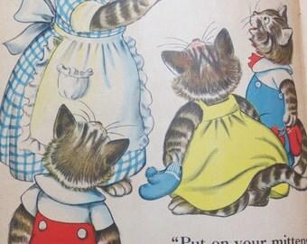 Vintage Ruth Newton Childrens Nursery Rhyme Book Print-Three Little Kittens-Book Plate