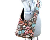 Floral Sling Bag for Women - Brown Crossbody Bag - Across the Body Bag - Floral Bag - Womens Cross Body Bag - Over the Shoulder Bag