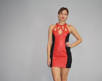 1990s Red and Black Leather Cutout Hip Hop Rap Rapper Body Con Dress - 90s leather Dress - Vintage Leather Bodycon Dresses - W00028