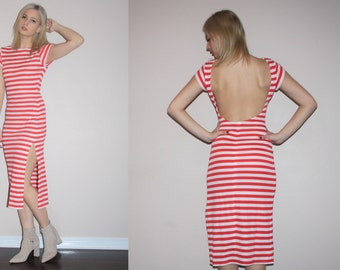 Vintage 1990s Red Nautical Candy Stripe Backless  Body Con Dress with Slit - Vintage Bodycon Dress - Vintage Striped Dresses  - W00241