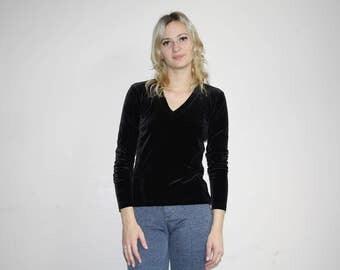 Black Velvet Minimalist 90s Vintage Ralph V Neck Goth Grunge Blouse Shirt Top - 1990s Ralph Lauren - 90s Clothing - WV0150