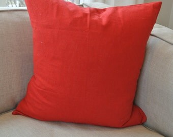 Solid Red Pillow Cover/ Christmas or Valentines 16x16