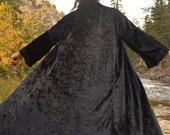 Vintage Black Crushed Velvet Duster Kimono Jacket Large Gypsy Boho