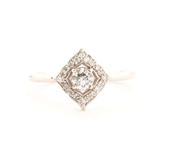 Diamond Vintage Inspired Ring 14k Select Your Gold