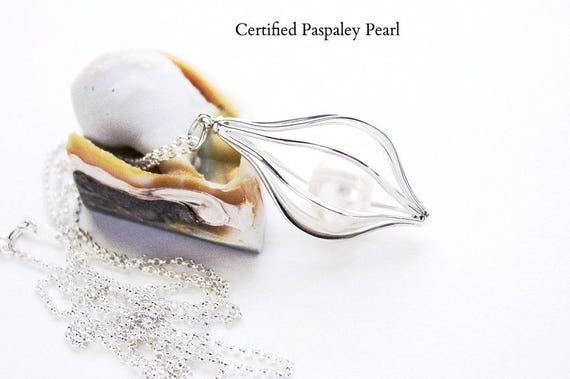 Paspaley South Sea Cultured Pearl Cage Necklace Sterling Silver Certified