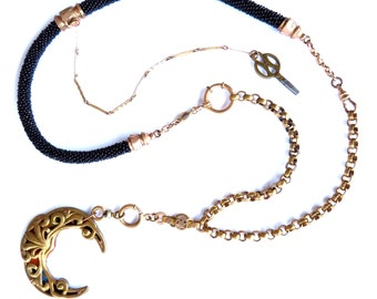 Moon Bloom — crescent moon with vintage tin and mixed antique watch chains assemblage necklace