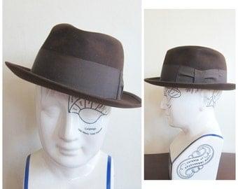 Vintage 1940s Brown Fedora Disney New York / 40s Men's Hat in Brown Wool