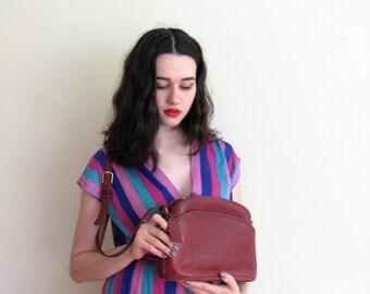 Vintage 1980s Red Leather COACH Bag / 80s Designer Shoulder Bag in Oxblood Burgundy