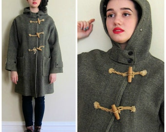 Vintage 1950s 1940s Olive Green Gray Wool Coat AS IS / 50s 40s Hooded Coat by White Stag / Large