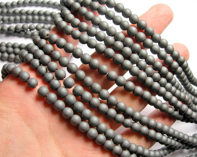 Hematite Matte - 6 mm  round beads - 1 full strand - 67 beads - matte - WHOLESALE DEAL - RFG1122