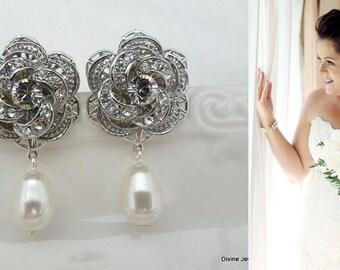 Bridal Earrings, pearl rhinestone earrings, Rhinestone Wedding Earrings, Chandeliers bridal Earrings, swarovski crystal earrings, ROSELANI