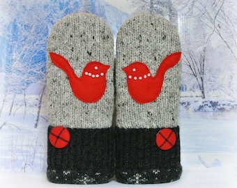Gray & Red Nordic Bird Mittens Women's Recycled Sweater Mittens