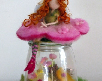 Magic garden lamp, fairy decoration, fairy with magic garden, children room decor, waldorf fairy, needle felted decor