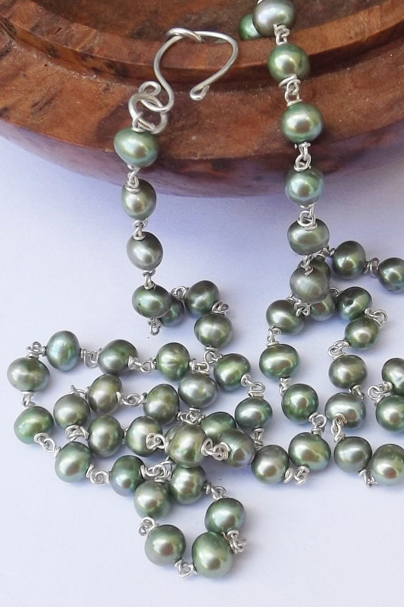 green freshwater pearl necklace green pearl green pearl