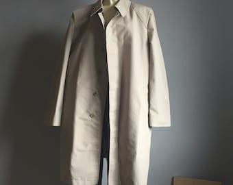 mens 90s TRENCH COAT London Fog preppy classy classic high fashion collar button up rain coat jacket LARGE L 44 80s khaki beige minimalist
