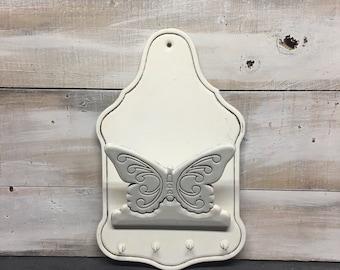 Wooden Butterfly Mail Organizer/Key Holder