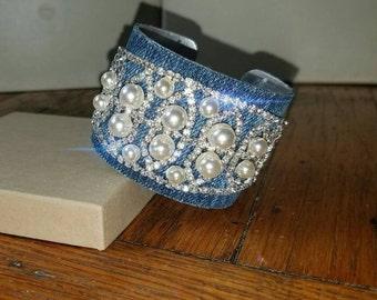 NEW- Denim Bracelet- Cuff Pearl and Crystal Rhinestone Jeans