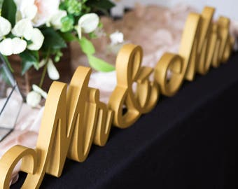 New Mr and Mrs Wedding Signs for Wedding Sweetheart Table, Mr and Mrs Letters, Large Thick Mr & Mrs Sign Set (Item - MTF200)