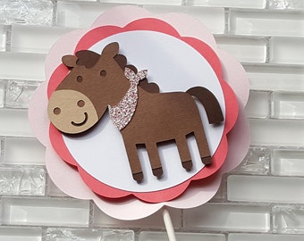 Pony Cake Topper in Pink and Brown for Birthday or Baby Shower