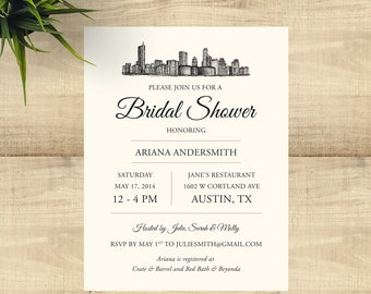 Austin Skyline Bridal Shower Invitations, includes envelopes and return address printing; customizable for any occasion; set of 25