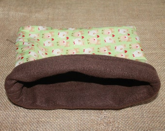 MEDIUM Green Reindeer pouch for small pocket pets- guinea pigs, rats, rodents, hedgehogs...