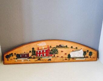 Americana Folk Art Plaque, Shakertown Kentucky, Pleasant Hill