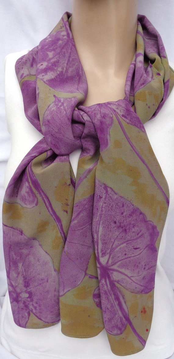 silk scarf hand painted Purple Philodendron crepe large long unique gray wasabi green luxury wearable art women fashion