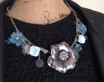 Statement Necklace, Blue Flower, Silver Flower, Floral Jewelry, Silver Necklace, Bib Necklace, Gift for Wife, Floral