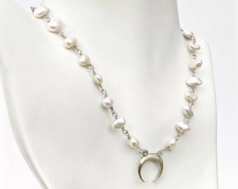 Crescent Moon Keishi Pearl Necklace, Crescent Pearl Necklace in Sterling