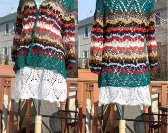 Crochet Jacket/ Merino Silk lace/ Multicolor / Size M-L / Ready to ship