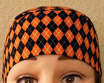 Orange & Black Skull Cap or Chemo Cap, Hair Loss, Bald, Halloween, Motorcycle, Bandana, Do Rag, Surgical Cap, Alopecia, Head Wrap, Handmade