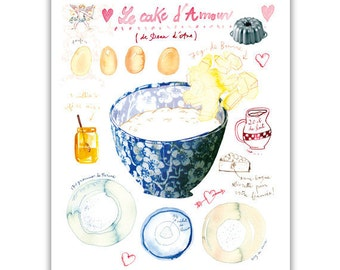 Love cake recipe watercolor illustration print, Kitchen art, Bakery, Blue kitchen decor, Romantic wall art, Food poster, French home decor