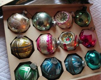 12 Vintage Christmas Onraments- West Germany- American- Glass Bulbs- Shiny Bright- Assorted color, style  and maker.