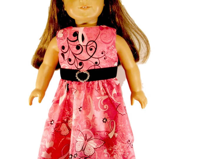Pink doll dress for Valentines Day or Breast Cancer Awareness fits 18 inch dolls like American Girl