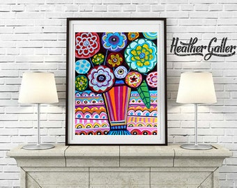DIGITAL Print File - Flower Art Poster Print of painting by Heather Galler- Abstract Modern Flowers Folk Art Colorful