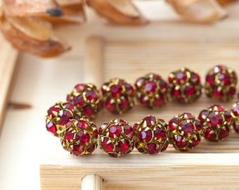 Vintage Rhinestone Balls Siam Red Rhinestone Bead Balls Austrian Crystal Bead Balls 10mm
