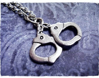 Silver Handcuffs Necklace - Antique Pewter Handcuffs Charm on a Delicate Silver Plated Cable Chain or Charm Only