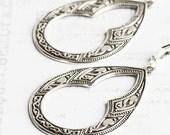Silver Drop Earrings, Large Teardrop Earrings, Antiqued Silver Plated, Moroccan Style, Silver Dangle Earrings, Boho Chic Jewelry