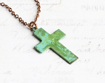 Small Aged Patina Cross Pendant Necklace on Antiqued Copper Plated Chain
